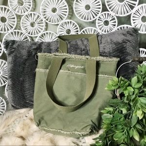 Life is Good distressed canvas pocket market tote